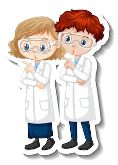 科学のガウンのカップルの科学者と漫画のキャラクターのステッカー