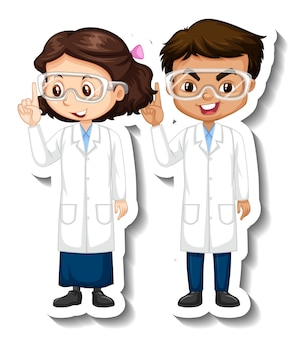 Cartoon character sticker with couple scientists in science gown