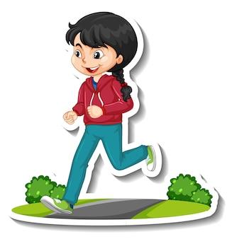 Adesivo personaggio dei cartoni animati con una ragazza che fa jogging su sfondo bianco