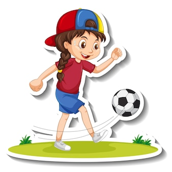 Cartoon character sticker with a girl playing football