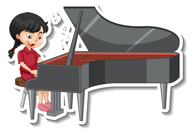 Cartoon character sticker with a girl playing piano Free Vector