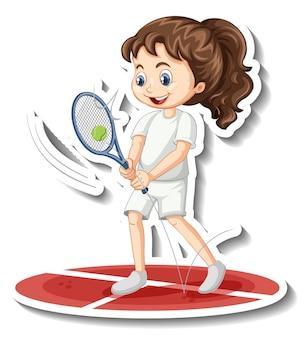 Adesivo personaggio dei cartoni animati con una ragazza che gioca a tennis