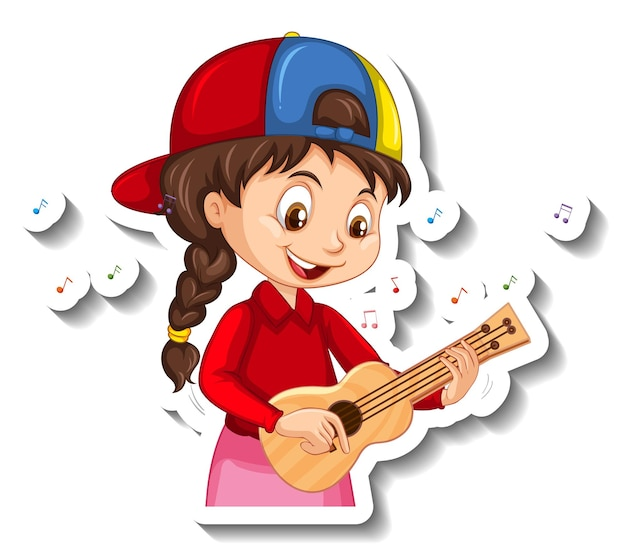 Cartoon character sticker with a girl playing ukulele
