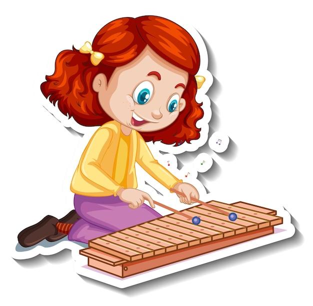 Adesivo personaggio dei cartoni animati con una ragazza che suona lo xilofono