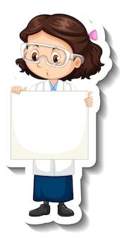 Adesivo personaggio dei cartoni animati con una ragazza in abito da scienze che tiene in mano uno striscione vuoto