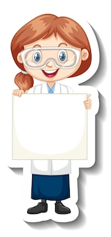 Cartoon character sticker with a girl in science gown holding empty banner