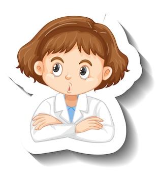 Adesivo personaggio dei cartoni animati con una ragazza in abito scientifico