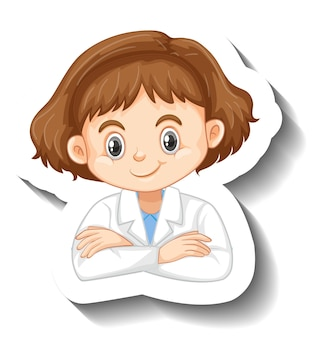 Cartoon character sticker with a girl in science gown