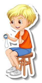 Adesivo personaggio dei cartoni animati con ragazzo allenatore sportivo che tiene un timer