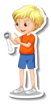 Cartoon character sticker with sport coach boy holding a timer