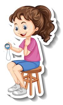 Наклейка с мультипликационным персонажем с девушкой спортивного тренера, держащей таймер