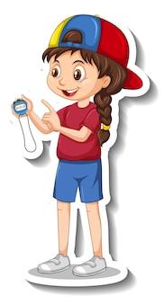 Adesivo personaggio dei cartoni animati con ragazza allenatore sportivo che tiene un timer