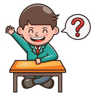 Cartoon character of student asking question at school . free vector