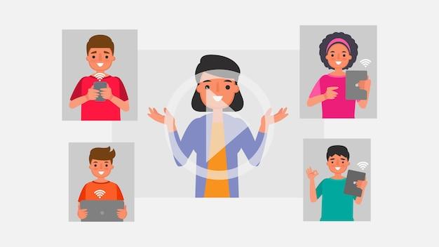 Персонаж из мультфильма концепции общения в группах студентов. дистанционное обучение информационные технологии иллюстрация образование онлайн обучение дома с эпидемической ситуацией содержание.