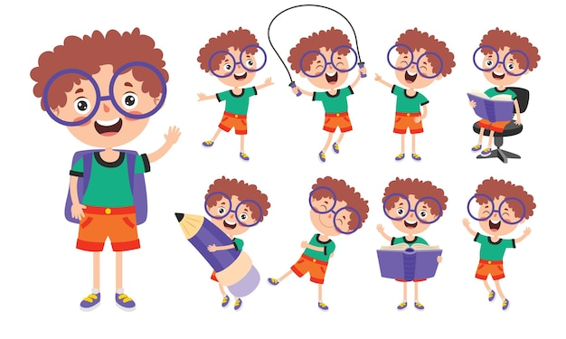 Cartoon character studying and learning