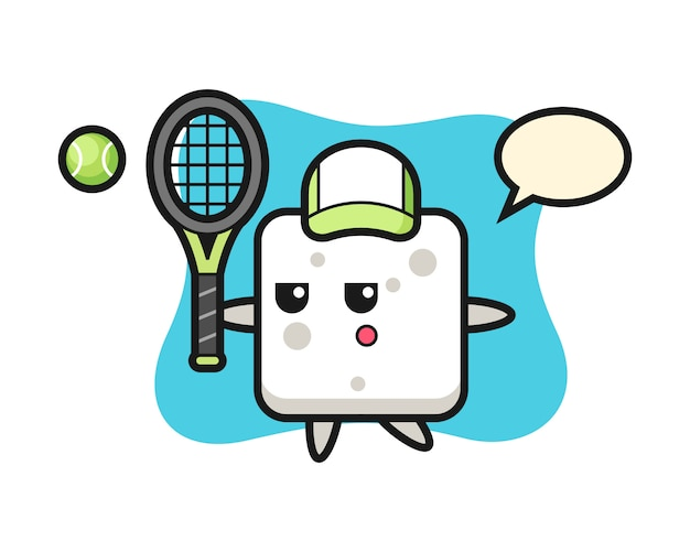 Cartoon character of sugar cube as a tennis player, cute style  for t shirt, sticker, logo element
