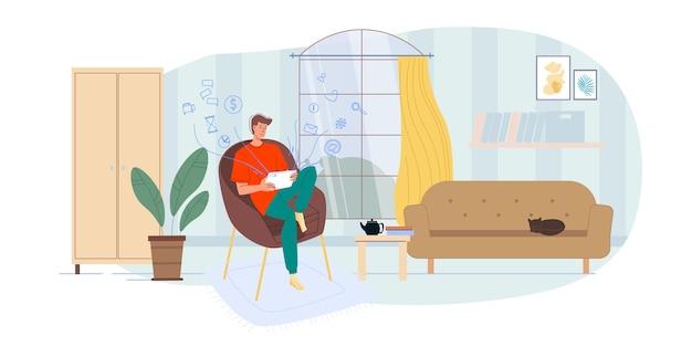 家のインテリアで屋内でインターネットをサーフィンする漫画のキャラクター