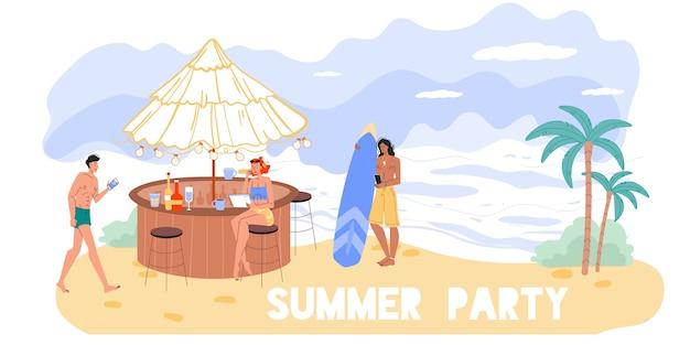 旅行や休暇で屋外でインターネットサーフィンをする漫画のキャラクター