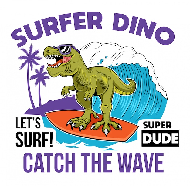 大きな波に乗って漫画のキャラクターt-rexティラノサウルスサーファー恐竜。