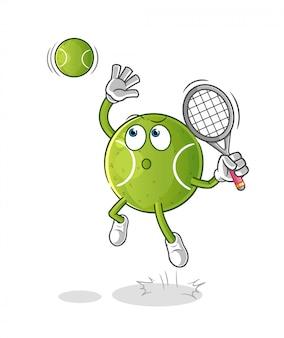 漫画のキャラクターテニスボールスマッシュ