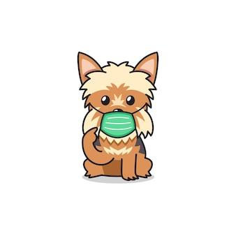 保護フェイスマスクを身に着けている漫画のキャラクターテリア犬
