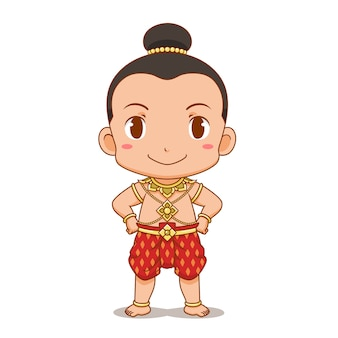 Cartoon character of thai boy in traditional costume
