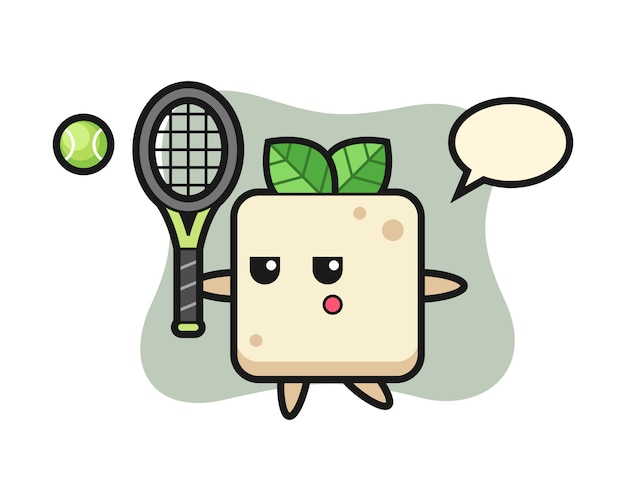 Cartoon character of tofu as a tennis player, cute style design for t shirt