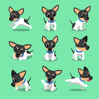 Cartoon character toy terrier dog poses