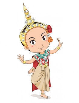 Cartoon character of traditional thai dancer girl