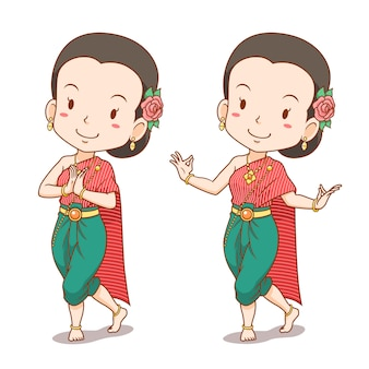 Cartoon character of traditional thai dancer girl.