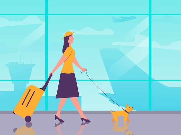 Cartoon character traveler.girl with a dog and luggage in the airport terminal.air travel young woman with a suitcase.female are going on vacation. passenger plane.