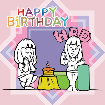 A cartoon character of two girls celebrating a birthday