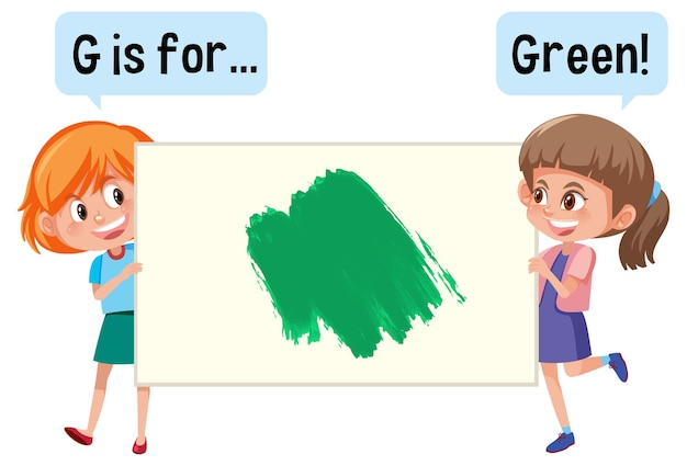 Cartoon character of two kids holding colour vocabulary banner