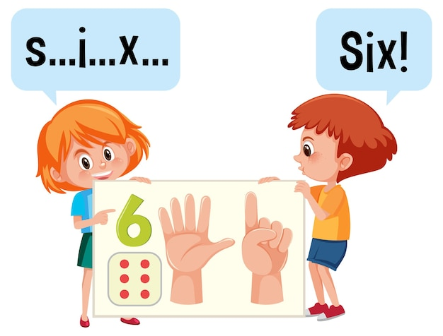 Cartoon character of two kids spelling the number six