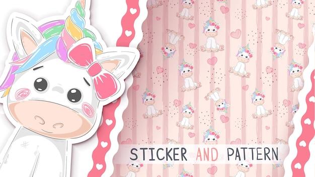 Cartoon character unicorn  seamless pattern hand draw