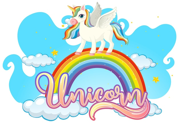 Cartoon character of unicorn standing on rainbow with unicorn font