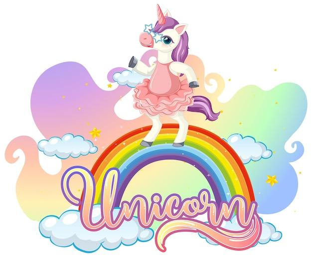 Personaggio dei cartoni animati di unicorno in piedi sull'arcobaleno con carattere di unicorno
