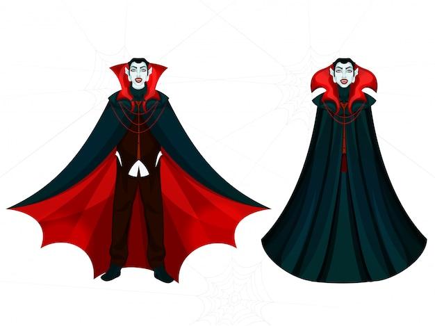 Cartoon character of vampire men on white .