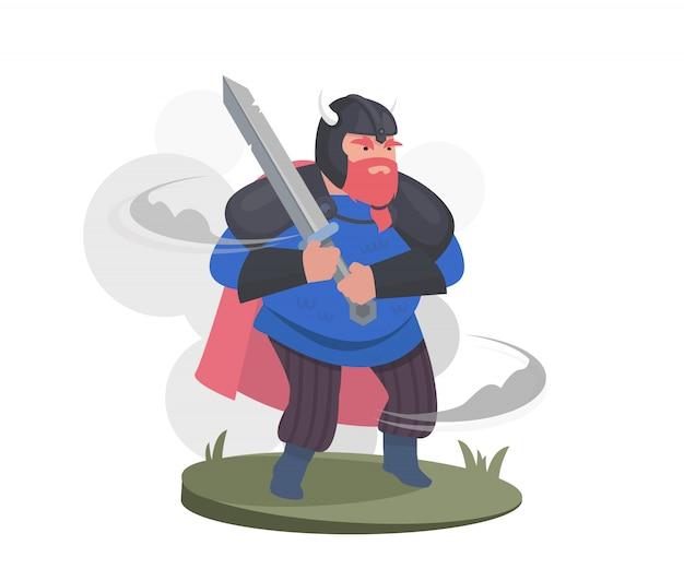 만화 캐릭터, 바이킹 전사. 헬멧과 칼로 갑옷을 입은 전사