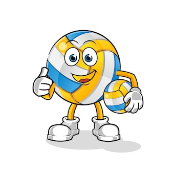 Cartoon character volleyball thumbs up