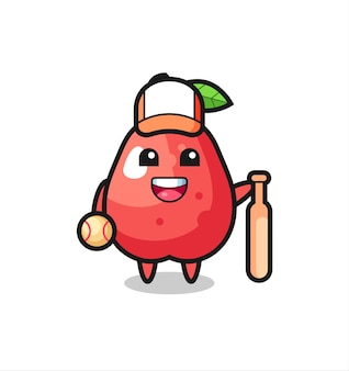 Cartoon character of water apple as a baseball player , cute style design for t shirt, sticker, logo element