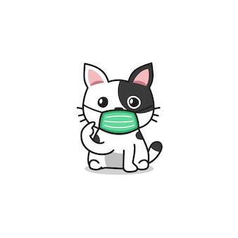 防護マスクを身に着けている漫画のキャラクター白いかわいい猫