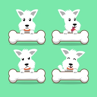 Cartoon character white scottish terrier dog with big bones