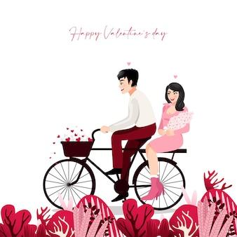 白い背景の自転車に座っているカップルと漫画のキャラクター。