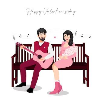 白い背景の上のヴィンテージの木製の椅子に座っているカップルと漫画のキャラクター。バレンタインデーのお祭り。