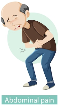 Cartoon character with abdominal pain symptoms