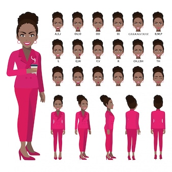 Cartoon character with african american business woman in suit for animation.