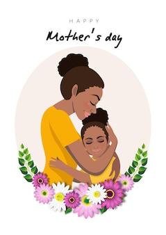 아프리카 계 미국인 엄마와 딸이있는 만화 캐릭터가 꽃 화환에 포용합니다. 어머니의 날 illusrtation