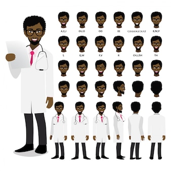 Cartoon character with african american professional doctor in smart uniform for animation. front, side, back, 3-4 view character. separate parts of body.