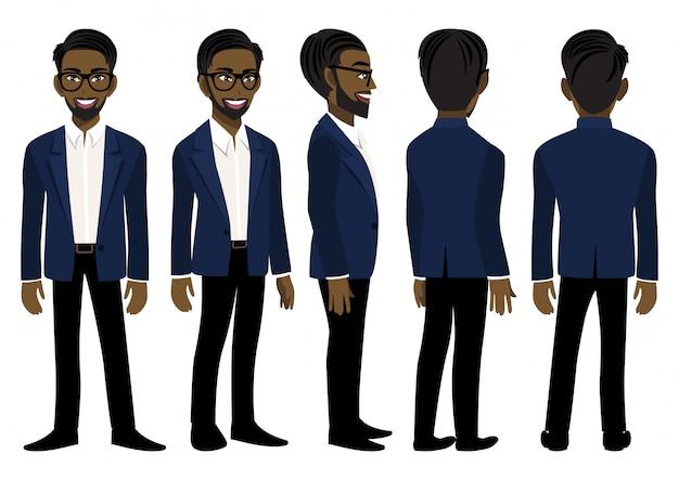 Мультипликационный персонаж с американский африканский деловой человек в голубом костюме для анимации.